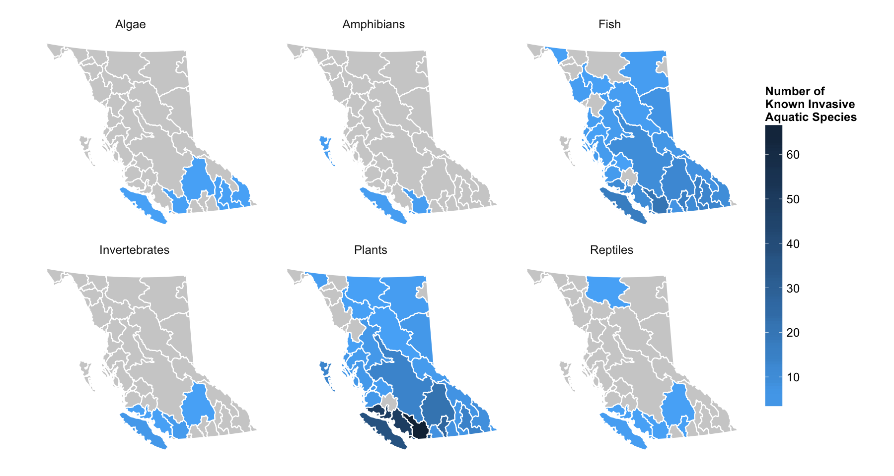 Maps Showing The Number And Distribution Of Aquatic Invasives Species By Species Group In B C American Bullfrog
